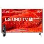 """Smart TV 50"""" LG 50UM7500PSB 4K com Wi-Fi, 2 USB, 4 HDMI, ThinQ AI e 60Hz"""