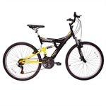 Bicicleta Aro 26 TB100 / PA 18 Marcha Dupla Suspensão Preta / Amarela - Track Bikes cod. 2209687