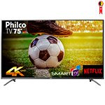 Smart TV 75' LED Philco PTV75E30DSWNT 4K Ultra HD com Wi-Fi 2 USB e 3 HDMI