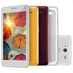 Smartphone Multilaser MS50 Dual Chip Branco Tela 5 3G+WiFi Android 5 8MP 16GB + Capas Traseiras Protetora e Película