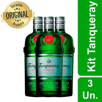 Gin Tanqueray London Dry 750 ml - Kit 3 unidades