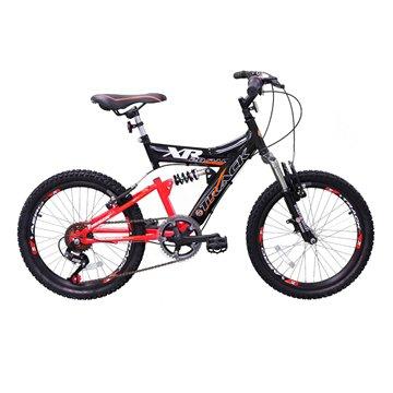 Bicicleta XR20 Aro 20 6V Dupla Suspensão Preto/Laranja Neon - Track Bikes