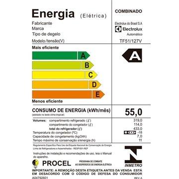 5d431756d ... Geladeira Refrigerador Electrolux Frost Free 2 Portas TF51 433 Litros  Branca