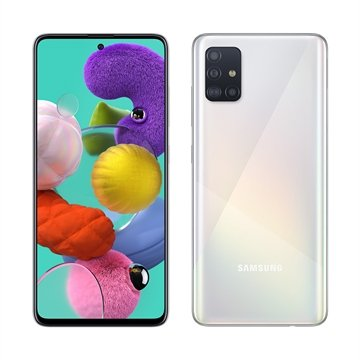 "Smartphone Samsung Galaxy A51, Dual Chip, Branco, Tela6,5"", 4G+WiFi+NFC, Android, Câm Traseira 48+12+5+5MP e Frontal 32MP,128GB"