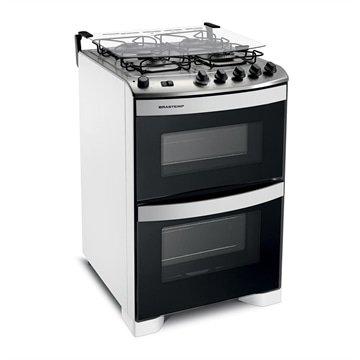 Menor preço em Fogão Brastemp 4 bocas duplo forno Branco com botões removíveis 110V