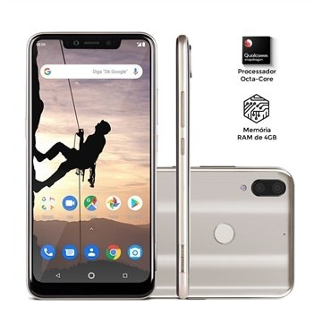 Smartphone Multilaser Ms80X 4G Android 8.1 Qualcomm 4Gb Ram E 64Gb Tela Fullhd 6,2 Pol. Câm Traseira 12Mp+5Mp Cam Frontal 16M